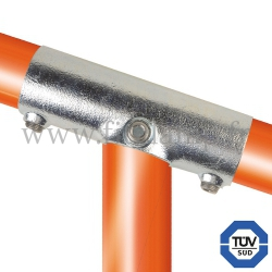 Tube clamp fitting 255Z for tubular structures: Slope long tee 11-29°. FitClamp