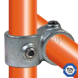 Tube clamp fitting: Reducing 90° cross over for tubular structures. FitClamp