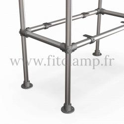 Raccord tubulaire 116 : Coude intermédiaire compatible 3 tubes pour un assemblage tubulaire. exemple 2