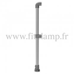 Tubular upright barrier start/end post: D48 Tubular structure. FitClamp