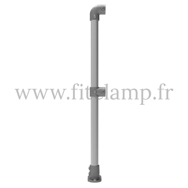 Poteau barrière départ pour sol plat 0° en structure tubulaire. FitClamp