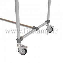 Table standard en structure tubulaire C42 acier galvanise - Piètement roulette. FitClamp