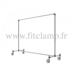 Tubular structure single clothes rail. Tubular shop fitting. FitClamp