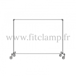 Tubular structure single clothes rail. Perfect for shop layouts. Shop fitting with Tube clamp fitting.