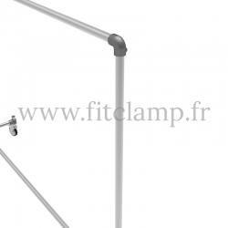 Tubular structure single clothes rail. Tubular structure with galvanised steel round tubes Ø B34. Tubular shop fitting.