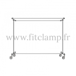 Porte-vêtements double largeur en structure tubulaire acier galvanisé. FitClamp