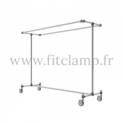 Tubular structure double-width clothes rail. Fitclamp