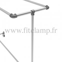 Porte-vêtements double largeur en structure tubulaire acier galvanisé. Raccord tubulaire angle. FitClamp