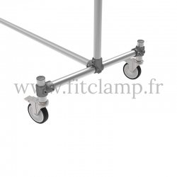 Tubular structure double-width clothes rail. Foot option: Wheels