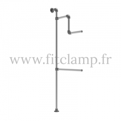 Tubular structure solo wall-mounted clothes rail. FitClamp