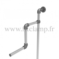 Tubular structure solo wall-mounted clothes rail. Tubular structure with galvanised steel round tubes Ø B34. FitClamp