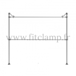 Tubular structure single wall-mounted clothes rail. Easy to install. FitClamp