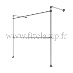 Tubular structure single wall-mounted clothes rail. FitClamp