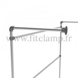Porte-vêtements mural simple en structure tubulaire acier galvanisé B 34. Raccord tubulaire platine de fixation. FitClamp
