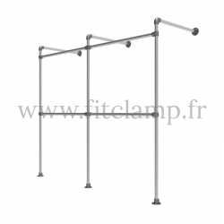 Double wall-mounted clothes rail - tubular structure. FitClamp