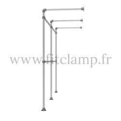 Double wall-mounted clothes rail - tubular structure. Perfect for shop layouts