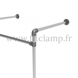 Double wall-mounted clothes rail - tubular structure. Foot option : Plate 131