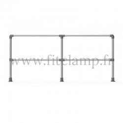 Barrière droite C42 double. Barrière droite D48 simple. Garde-corps en structure tubulaire. FitClamp