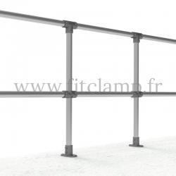 Poteau barrière droite en structure tubulaire acier galvanisé - Extension
