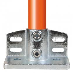 Raccord tubulaire Piètement avec retour de sécurité (247) pour un assemblage tubulaire. Double galvanisation