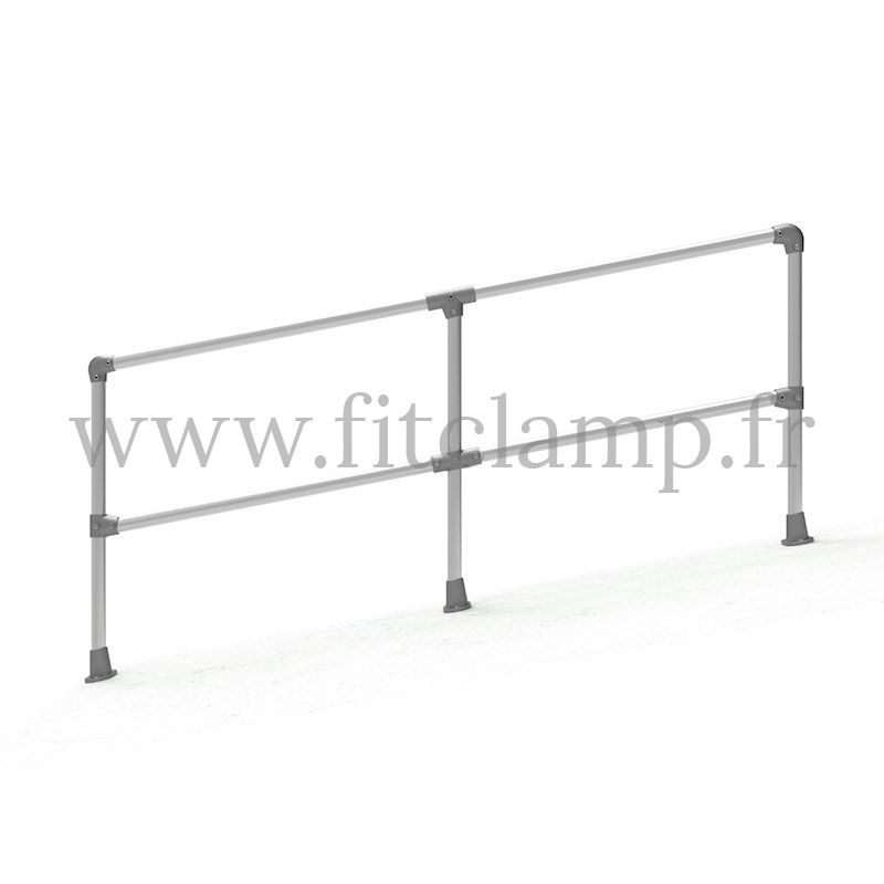 Angled barrier (0-11°) - Double: C42 tubular structure. FitClamp