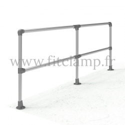 Angled barrier (0-11°) - Double: C42 tubular structure. Assembled with a simple Allen key