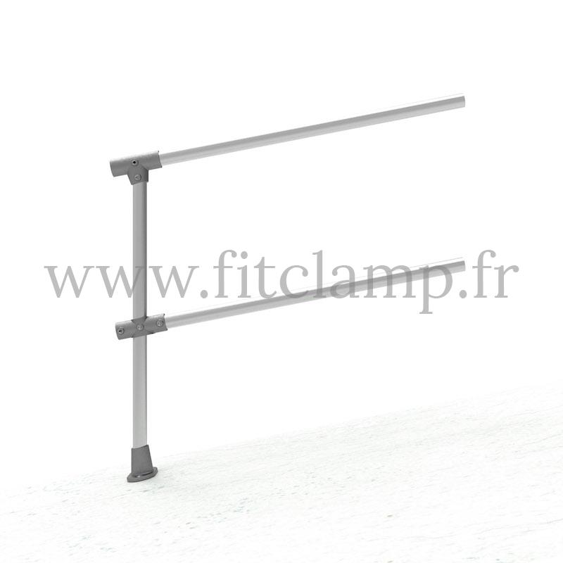Barrera extensión de estructura tubular C42  - Suelo inclinado 0-11°. Se monta con una simple llave Allen. FitClamp