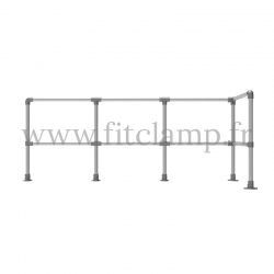 Tubular upright barrier post - Angled: C42 Tubular structure. Assembled with a simple Allen key