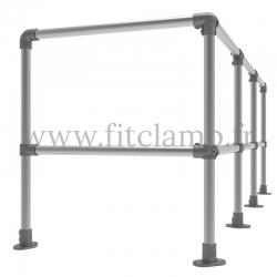 Tubular upright barrier post - Angled: C42 Tubular structure