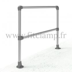 Tubular angled barrier post 0-11° - Start/end: C42 tubular structure. Foot clamp tube fitting : C152
