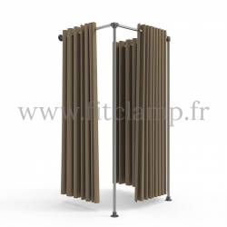 Square fitting room - B34 tubular structure. Perfect for shop layouts