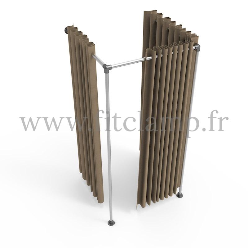 Cabine d'essayage Square en structure tubulaire. FitClamp