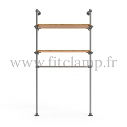Single-width shelving with hanging wardrobe. B34 Tubular structure. Perfect for shop layouts
