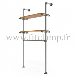 Single-width shelving with hanging wardrobe. B34 Tubular structure. Tubular structure with galvanised steel round tubes Ø B 34.