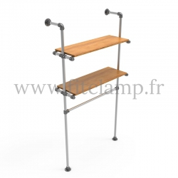 Single-width shelving with hanging wardrobe. B34 Tubular structure. FitClamp