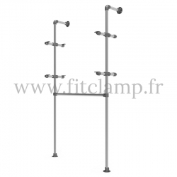 Single-width shelving with hanging wardrobe. B34 Tubular structure. Quick and easy assembly with an Allen key (provided)