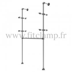 Etagère simple avec penderie en structure tubulaire acier galvanisé. En situation sans tablette 2. FitClamp