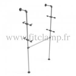 Single-width shelving with hanging wardrobe. B34 Tubular structure.