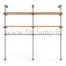 Double-width shelving with hanging wardrobe. Tubular structure. Perfect for shop layouts