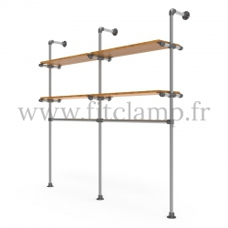 Double-width shelving with hanging wardrobe. Tubular structure. Tubular structure with galvanised steel round tubes Ø B34.