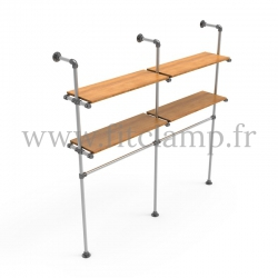 Double-width shelving with hanging wardrobe. Tubular structure. FitClamp