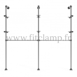 Double-width shelving with hanging wardrobe. Tubular structure. Perfect for shop layouts. FitClamp