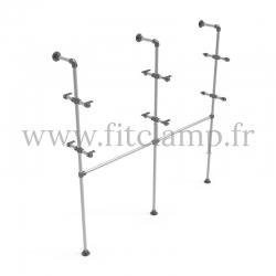 Etagère double avec penderie en structure tubulaire en acier galvanisé. FitClamp