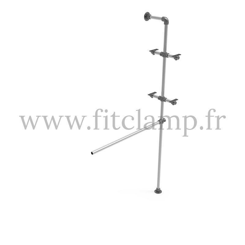 Shelving with hanging wardrobe - Extension. Tubular structure. FitClamp