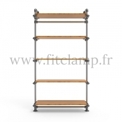 Single-width 5-level shelving with hanging wardrobe - tubular structure. Easy to install