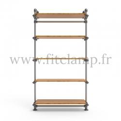 Etagère simple 5 niveaux en structure tubulaire acier galvanisé avec tablette. FitClamp.
