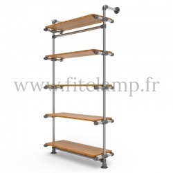 Single-width 5-level shelving with hanging wardrobe - tubular structure. FitClamp