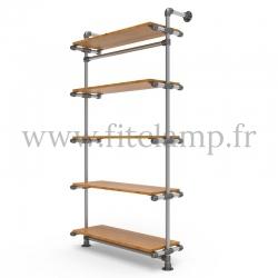 Etagère simple 5 niveaux en structure tubulaire acier galvanisé avec tablette bois. FitClamp.