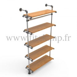 Single-width 5-level shelving with hanging wardrobe - tubular structure. A trendy, industrial design for interior renovations