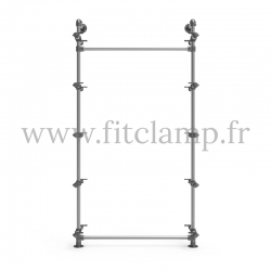 Single-width 5-level shelving with hanging wardrobe - tubular structure. Easy to install. FitClamp
